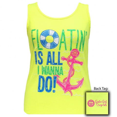 Girlie Girl Floatin is all I Wanna Do Anchor Comfort Colors Tank Top