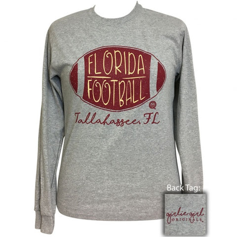 Girlie Girl Preppy Florida Tallahassee Football Long Sleeve T-Shirt