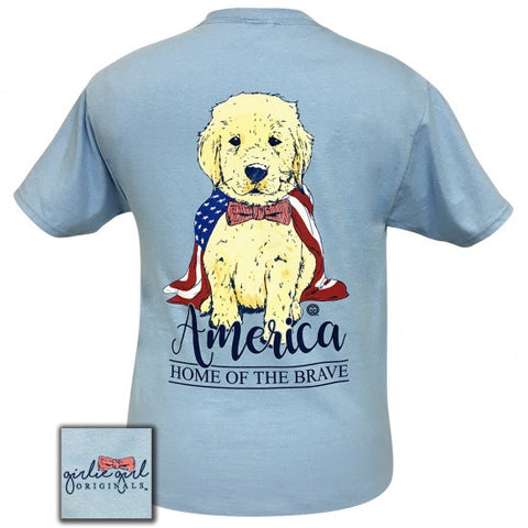 Girlie Girl Originals America USA Home Of The Brave Puppy T-Shirt