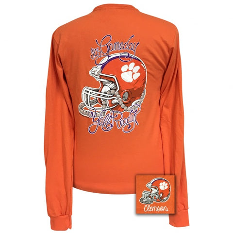 Girlie Girl Preppy South Carolina Clemson Tigers Gameday Long Sleeve T-Shirt - SimplyCuteTees