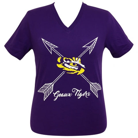 Girlie Girl Preppy Louisiana LSU Geaux Tigers Arrows V-Neck T-Shirt