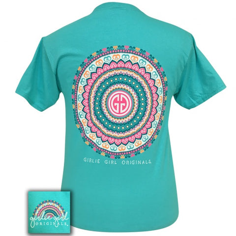 Girlie Girl Originals Preppy Blue Mandala Logo T-Shirt