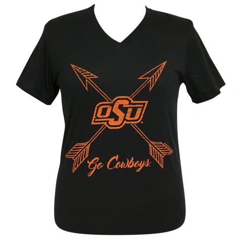 Girlie Girl Preppy Oklahoma State OSU Go Cowboys Arrows V-Neck T-Shirt - SimplyCuteTees