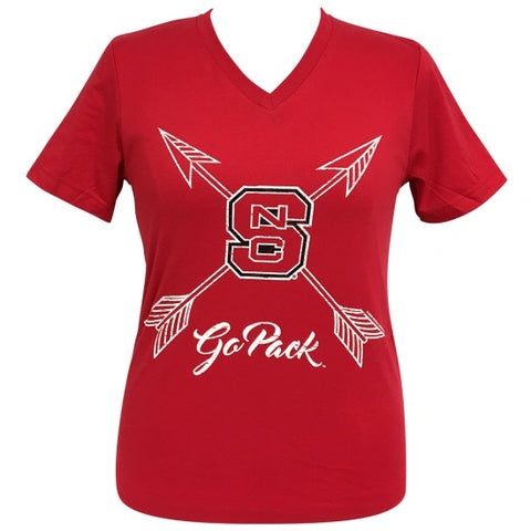 Girlie Girl Preppy NC State North Carolina Go Pack Arrows V-Neck T-Shirt - SimplyCuteTees