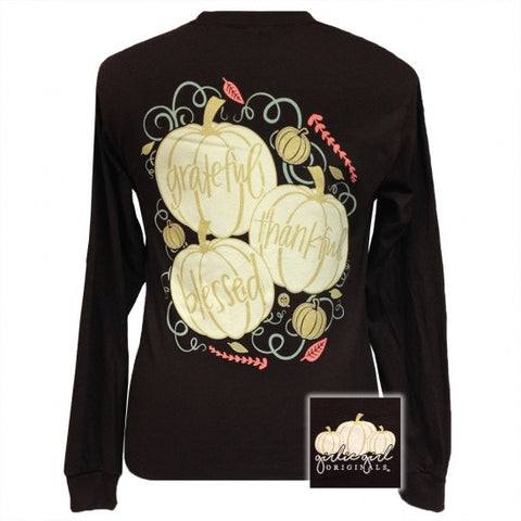 Girlie Girl Originals Grateful Thankful Blessed Pumpkin Fall Long Sleeve T-Shirt - SimplyCuteTees