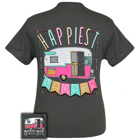 Girlie Girl Southern Originals Happiest Camper Charcoal T-Shirt