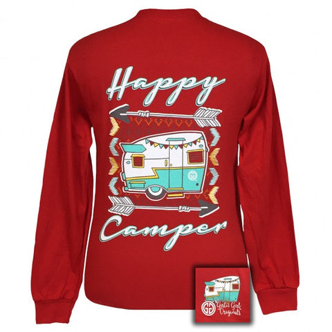 Girlie Girl Southern Originals Happy Camper Arrows Red Long Sleeve T-Shirt