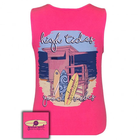Girlie Girl Originals Preppy High Tides Beach Neon Pink Tank Top - SimplyCuteTees