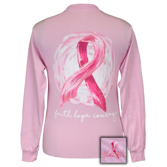 Girlie Girl Originals Faith Hope and Courage Breast Cancer Long Sleeves T Shirt - SimplyCuteTees