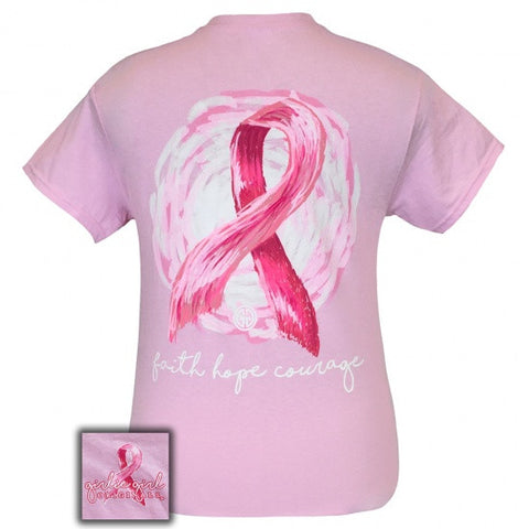 Girlie Girl Originals Faith Hope and Courage Breast Cancer T-Shirt - SimplyCuteTees