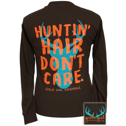 Girlie Girl Preppy Huntin Hair Don't Hair Long Sleeve T-Shirt - SimplyCuteTees