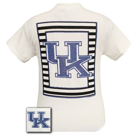 New UK Kentucky Wildcats Preppy Glitter Logo Girlie Bright T Shirt