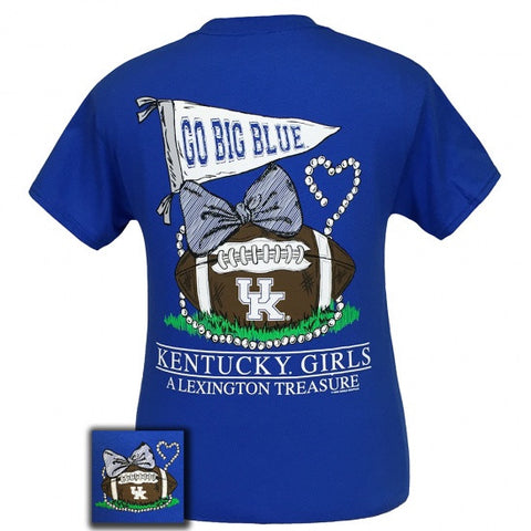 UK Kentucky Wildcats Big Blue Lexington Treasure Pearls Bow T-Shirt - SimplyCuteTees