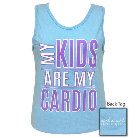 Girlie Girl Originals Preppy My Kids Are My Cardio Tank Top - SimplyCuteTees