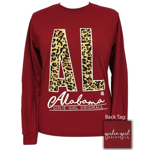 Girlie Girl Preppy Leopard Alabama Long Sleeve T-Shirt - SimplyCuteTees