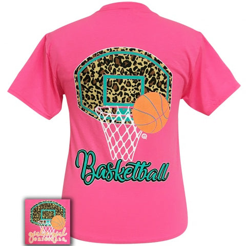 Girlie Girl Originals Preppy Leopard Basketball T-Shirt - SimplyCuteTees