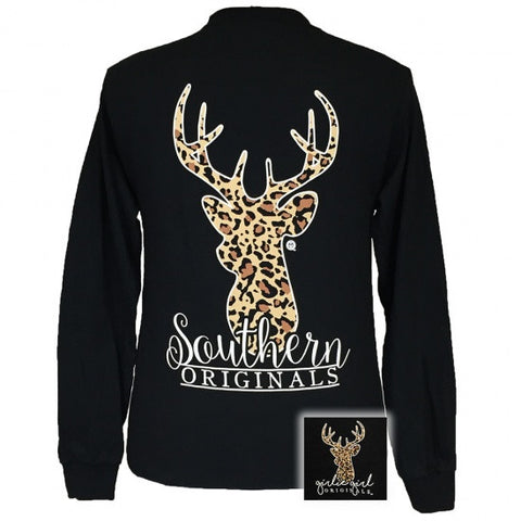 Girlie Girl Originals Preppy Leopard Deer Long Sleeves T Shirt - SimplyCuteTees