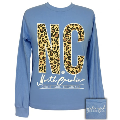 Girlie Girl Preppy Leopard North Carolina Long Sleeve T-Shirt - SimplyCuteTees