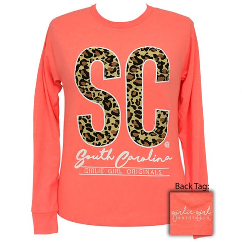Girlie Girl Preppy Leopard South Carolina Long Sleeve T-Shirt - SimplyCuteTees
