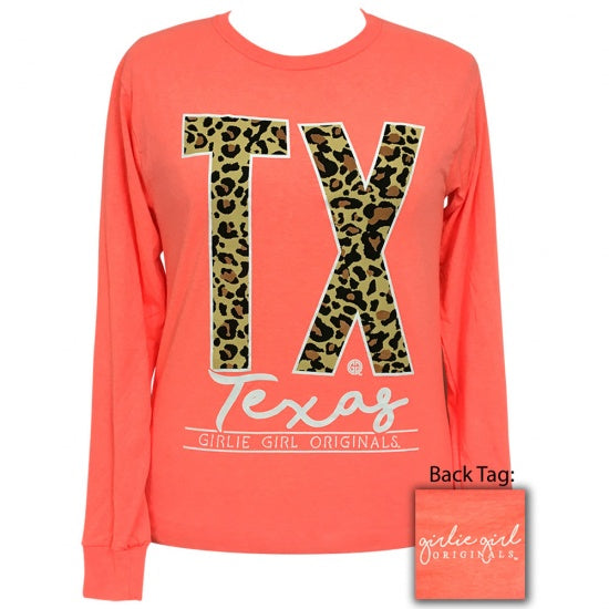 Girlie Girl Preppy Leopard Texas Long Sleeve T-Shirt - SimplyCuteTees