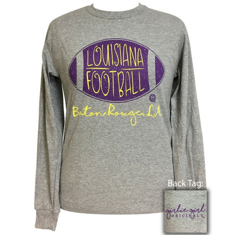 Girlie Girl Preppy Louisiana Football Long Sleeve T-Shirt - SimplyCuteTees