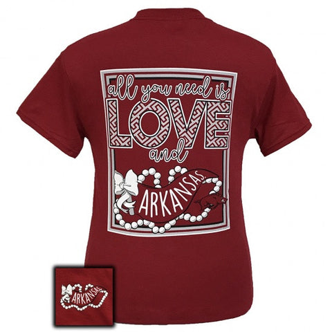 Arkansas Razorbacks Hogs All You Need Is Love T-Shirt - SimplyCuteTees