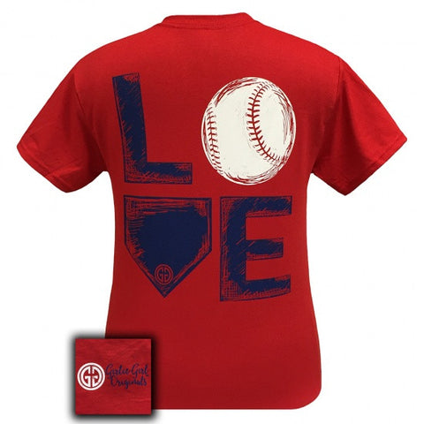 Girlie Girl Originals Preppy Love Baseball Sports T-Shirt - SimplyCuteTees
