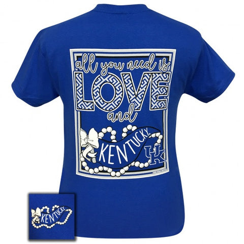2108cdde UK Kentucky Wildcats Big Blue All You Need Is Love T-Shirt