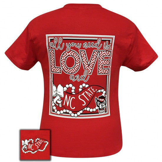 North Carolina NC State Wolf Pack All You Need Is Love T-Shirt