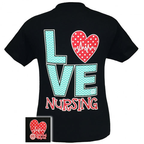 Girlie Girl Originals Nurses Love Nursing Chevron Pattern T-Shirt