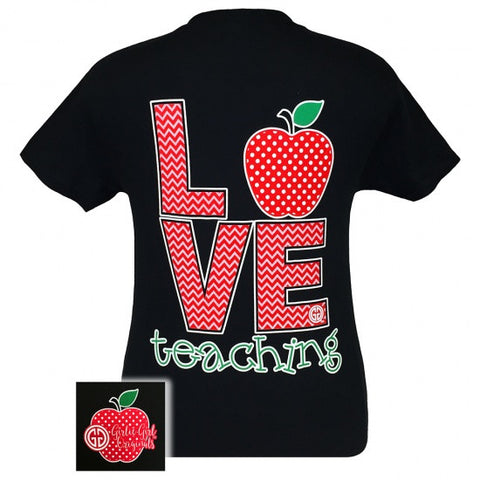 Girlie Girl Originals Teachers Love Teaching Chevron Pattern T-Shirt