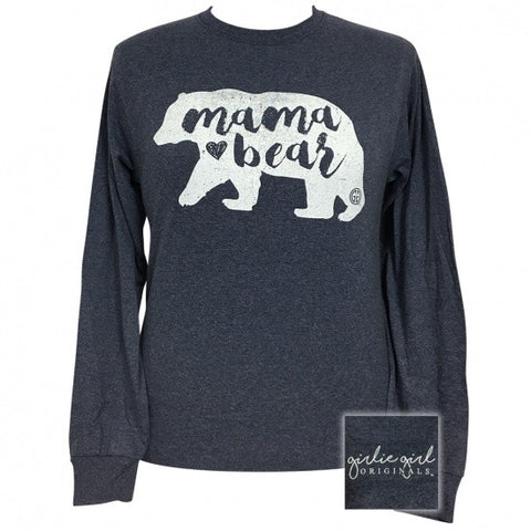 Girlie Girl Preppy Mama Bear Long Sleeve T-Shirt - SimplyCuteTees