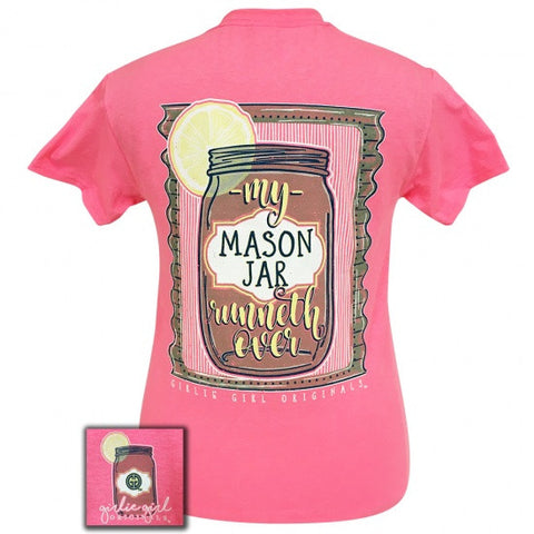 Girlie Girl Preppy My Mason Jar Runneth Over T-Shirt - SimplyCuteTees