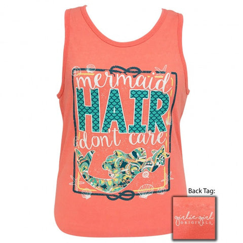 Girlie Girl Originals Preppy Mermaid Hair Don't Care Beach Tank Top - SimplyCuteTees