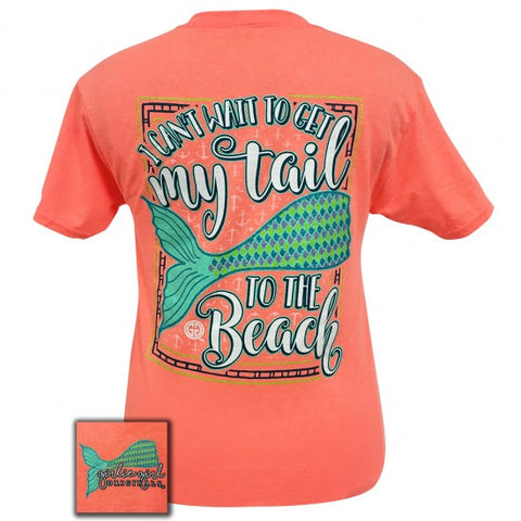 Girlie Girl Preppy my Mermaid tail to the beach T-Shirt - SimplyCuteTees