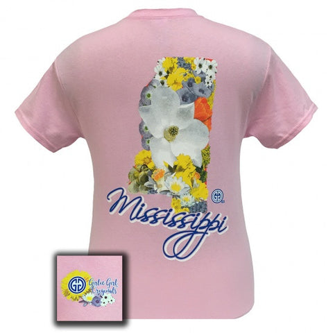 Girlie Girl Originals Mississippi Flowers Preppy State T Shirt