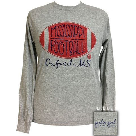 Girlie Girl Preppy Oxford Mississippi Football Long Sleeve T-Shirt - SimplyCuteTees