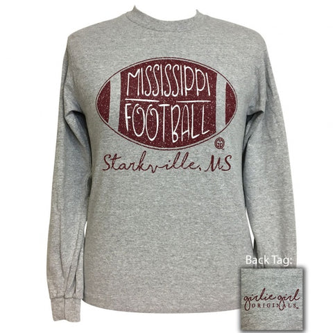 Girlie Girl Preppy Mississippi Football Long Sleeve T-Shirt - SimplyCuteTees
