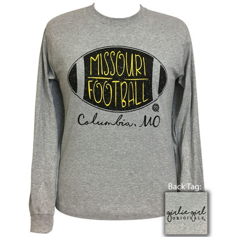 Girlie Girl Preppy Missouri Football Long Sleeve T-Shirt - SimplyCuteTees
