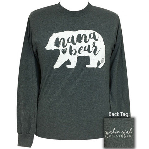 Girlie Girl Preppy Nana Bear Long Sleeve T-Shirt - SimplyCuteTees