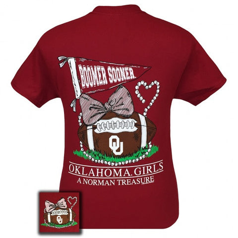 Oklahoma Boomer Sooners Norman Treasure Pearls Bow T-Shirt