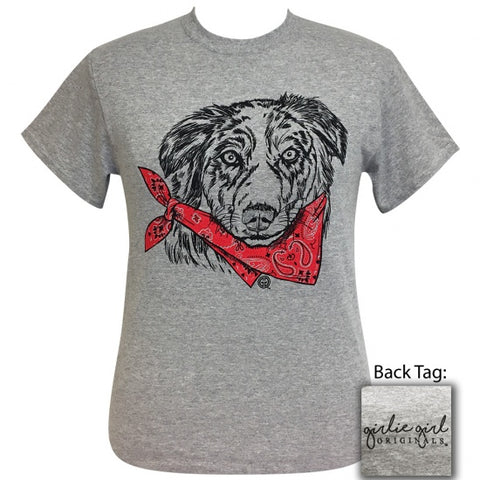 Girlie Girl Originals Preppy Bandana Australian Shepard Dog Grey T-Shirt