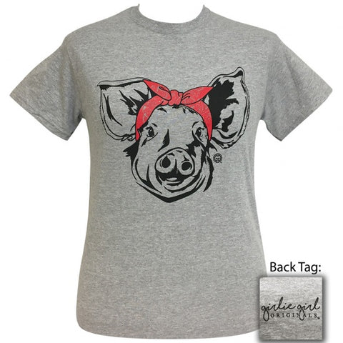 Girlie Girl Originals Preppy Bandana Pig Grey T-Shirt