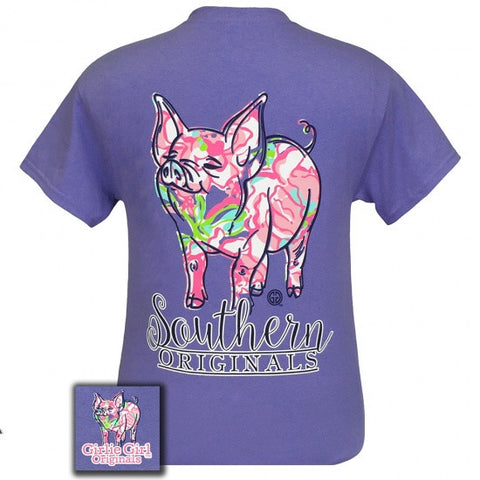 Girlie Girl Originals Southern Preppy Pig Violet T-Shirt