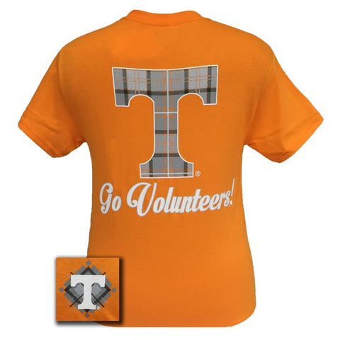 Tennessee Vols Volunteer Class Prep Plaid Logo Girlie Bright T Shirt - SimplyCuteTees