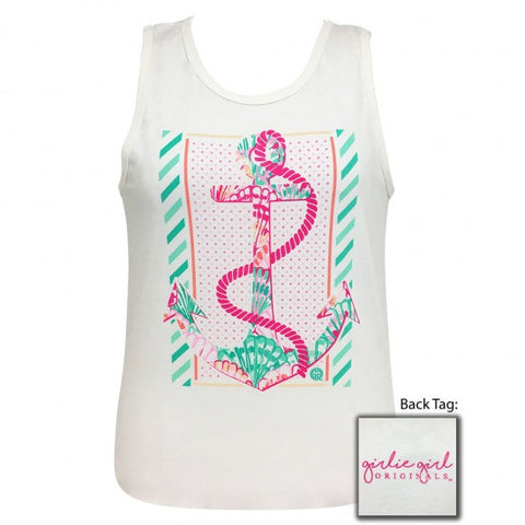 Girlie Girl Originals Preppy Rope Shell Anchor Tank Top