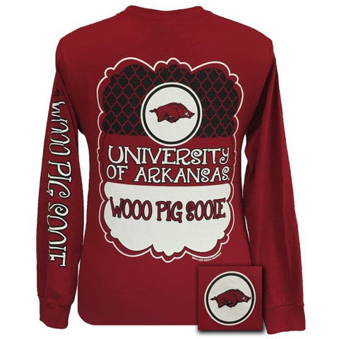 Arkansas Razorbacks Preppy Classy Frame Logo Long Sleeves T Shirt