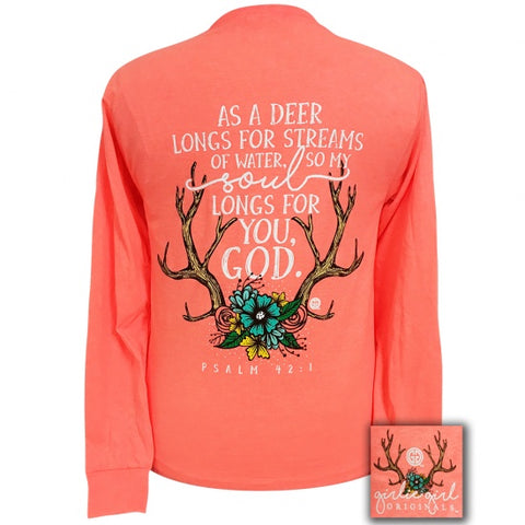 Girlie Girl Preppy Deer Antlers Psalm 42:1 Long Sleeve T-Shirt