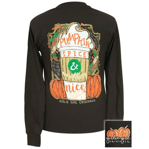 Girlie Girl Preppy Pumpkin Spice Fall Long Sleeve T-Shirt - SimplyCuteTees