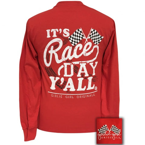 Girlie Girl Preppy Race Day Yall Long Sleeve T-Shirt - SimplyCuteTees